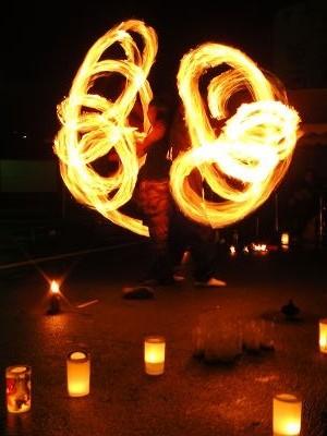 舞捧祭火(むささび)さんの『湯けむり炎と音のパフォーマンス』@道の駅「伊勢本街道・御杖」