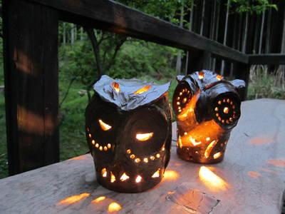 茶香炉とフクロウの照明/奥野陶房 秋の特別陶芸講習会